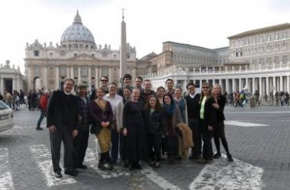 The Berkeley Senior Class At St. Peter's Basilica, Vatican City. From Left, Front Row: Leigh Kern, Taylor Ashlock, Alli Huggins, Kacei Conyers; Middle: Dean Andrew Mcgowan, Brian Barry, Carlos Insignares, Mikayla Dunfee, Charlie Knuth, Jessie Gutgsell, Rachel Field, Joshua Bruner, Pam Hyde, Felicity Harley-Mcgowan; Back: Robbie Pennoyer, Mark Anderson, Stephen Douglas, Zack Nyein